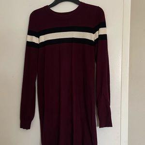 Burgundy garage sweater dress